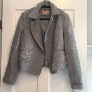 Grey Banana Republic Boiled Wool Moto Jacket